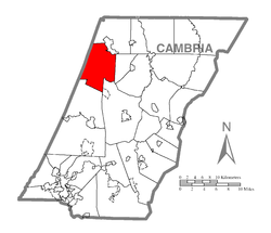 Map of Cambria County, Pennsylvania highlighting Barr Township