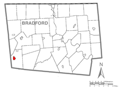 Map of Bradford County with Canton highlighted