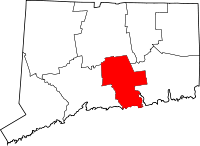 Map of Connecticut highlighting Middlesex County