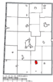 Map of Darke County Ohio Highlighting Arcanum Village.png