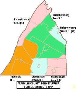 Map of Franklin County, Pennsylvania School Districts