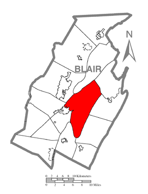 A map of Blair County showing Frankstown Towns...