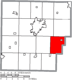 Location of Amanda Township in Hancock County.