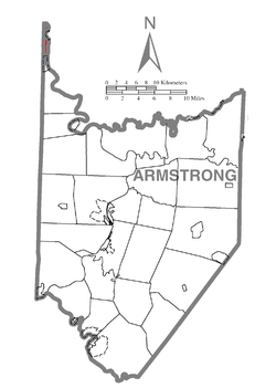 Map of Armstrong County, Pennsylvania highlighting Hovey Township