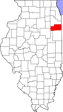 Map of Illinois highlighting Kankakee County