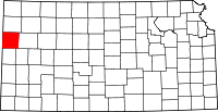 Map of Kansas highlighting Wallace County
