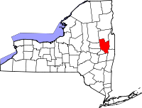 Map of New York highlighting Saratoga County
