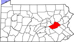 Map of Pennsylvania highlighting Schuylkill County.svg