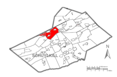 Map of Schuylkill County, Pennsylvania Highlighting Butler Township.PNG