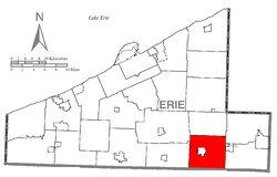 Location of Union Township in Erie County