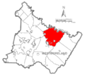 Map of Westmoreland County, Pennsylvania Highlighting Derry Township.PNG