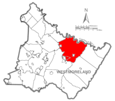 Map of Westmoreland County, Pennsylvania Highlighting Derry Township