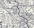 Map showing Tonopah Tidewater Railroad Company line from Ludlow California to Goldfield Nevada circa 1907 (cropped).jpg