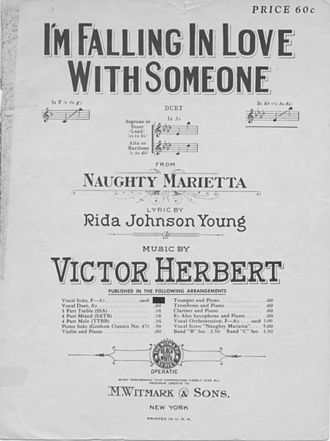 "Naughty Marietta (operetta) - Sheet music cover to ""I'm Falling in Love with Someone"""