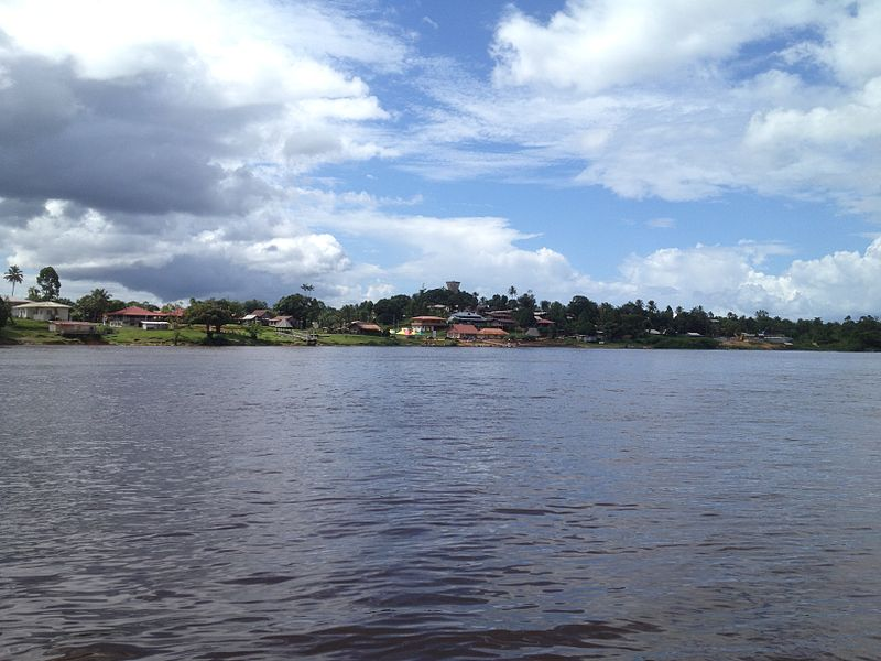 Downtonwn Maripasoula and the Lawa River view from Surinam