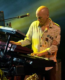 Mark Kelly onstage with Marillion at their 2009 weekend festival in Montreal, Quebec, Canada.