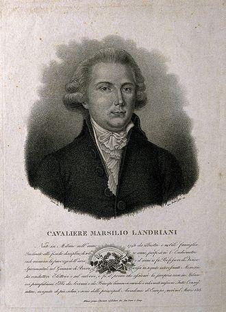 Marsilio Landriani - Stipple engraving by G. Rados, junior