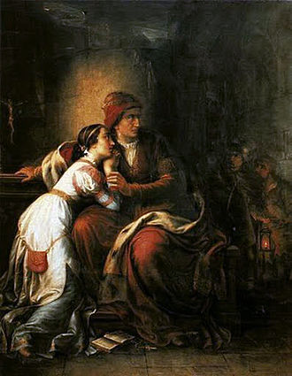 Elizabeth of Bosnia - Elizabeth with her daughter Mary in captivity, as imagined by Soma Orlai Petrich