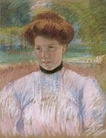 Mary Cassatt - 'Young Woman with Auburn Hair in a Pink Blouse', pastel on paper, 1895, Honolulu Academy of Arts.jpg