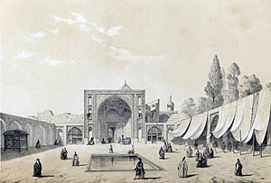 Shah Mosque (Tehran) - The Shah Mosque by Eugène Flandin in 1851