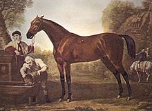Painting of a standing next to two men, one of whom is holding the horse's bridle, the other is pouring water into a water trough.