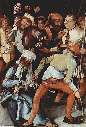 "Aestheticization of violence - Grünewald's painting ""The Mocking of Christ"" depicts Christ being lashed and abused."