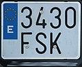 Matrícula automovilística España 2000 3430 FSK motocicleta.jpg