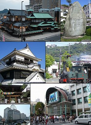 Matsuyama, Ehime - From top left:Dōgo Onsen Honkan, Stone monument of Shiki Masaoka, Matsuyama Castle, Botchan train, The gate of Ishite-ji, Iyotetsu Matsuyama-shi Station, Gintengai Street