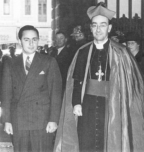 Santamaria with Roman Catholic Archbishop of Adelaide, Matthew Beovich at the first Catholic Action Youth rally in 1943 Matthew Beovich and B A Santamaria 1943.jpg