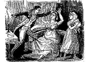 Uxoricide - 18th century illustration of Matthias Brinsden murdering his wife.