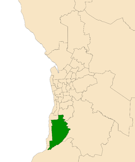 Map of Adelaide, South Australia with electoral district of Mawson highlighted