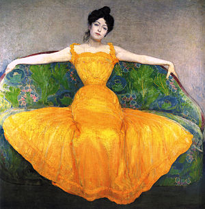 Max Kurzweil - Woman in a Yellow Dress. Oil on canvas, 1899