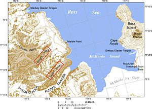 McMurdo Dry Valleys - Map of the McMurdo Sound and the Dry Valleys