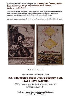 Novi Zrin - Image: Međunar.znanstv.skup 350.obljetnica smrti Nikole Zrinskog i pada Novog Zrina program