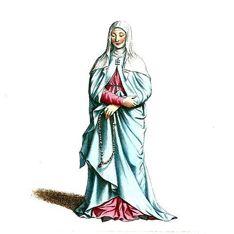 Medieval Nuns Clothing http://commons.wikimedia.org/wiki/File:Medieval_Nun_or_Woman_in_Religious_Clothing_(2).JPG