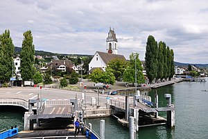 Zürichsee-Fähre Horgen–Meilen - The Meilen ferry terminal, as seen from a ferry just about to depart.