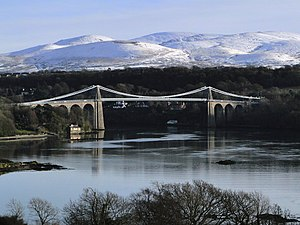 Menai Suspension Bridge - The Menai Suspension Bridge from a viewpoint on the A5 near the Britannia Bridge