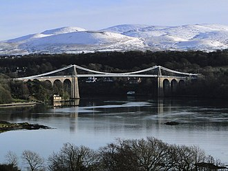 Menai Strait - Thomas Telford's Menai Suspension Bridge.