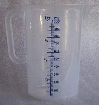 Cubic centimetre - A measuring cup holding 1000 mL, that is one litre (1 L) or 100 cL