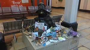 Michael Bond - Paddington Bear statue in Paddington Station after Michael Bond's death.