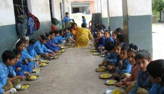 Midday Meal Scheme - Primary school children receiving Midday Meal in Karnataka