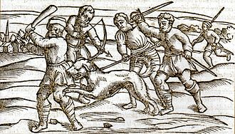 Social history of viruses - A woodcut from the Middle Ages showing a rabid dog