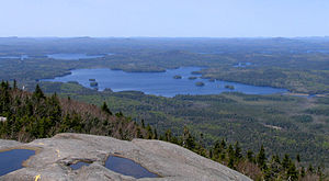 Middle Saranac Lake - Middle Saranac Lake from Ampersand Mountain, Upper Saranac Lake, upper right, Weller Pond, center right