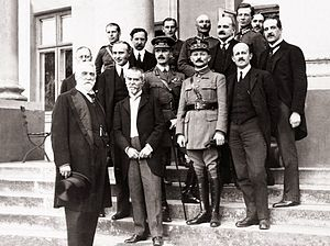 Interallied Mission to Poland - Members of  Interallied Mission to Poland  (1920). First row from the left: Edgar Vincent D'Abernon, Jean Jules Jusserand, Maxime Weygand, Maurice Hankey