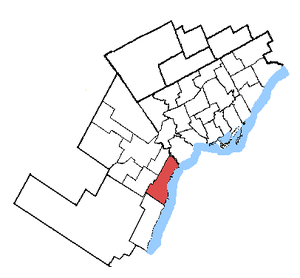 Mississauga—Lakeshore - Mississauga South in relation to the other Toronto area ridings (2003 boundaries)