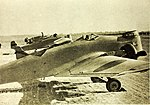 Mitsubishi Ki-2-I Army type 93-1 bombers lined up on ground.jpg