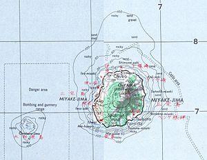 Miyake-jima - Map of Miyake-jima, with Ōnoharajima west south-west of it