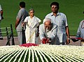 Mohd. Hamid Ansari paying floral tributes at the Samadhi of the former Prime Minister, Pandit Jawaharlal Nehru on his 48th death anniversary, at Shanti Van, in Delhi. The Chief Minister of Delhi.jpg