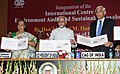 Mohd. Hamid Ansari releasing a Special Cover on ICED, at the inauguration of the International Centre for Environment Audit & Sustainable Development, in Jaipur, Rajasthan. The Governor of Rajasthan.jpg