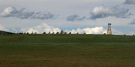 Modern reenactment of Mongol military movement MongolCavalry crop.jpg
